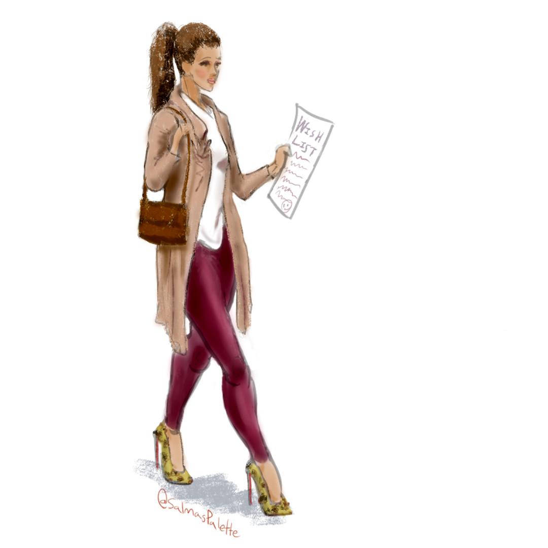fashion sketch girl holding a wish list
