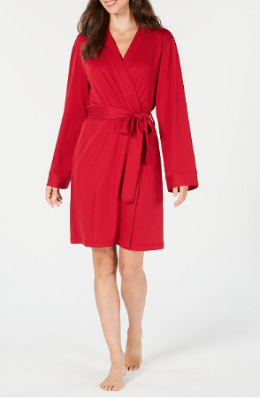 woman wearing a red charter club wrap robe