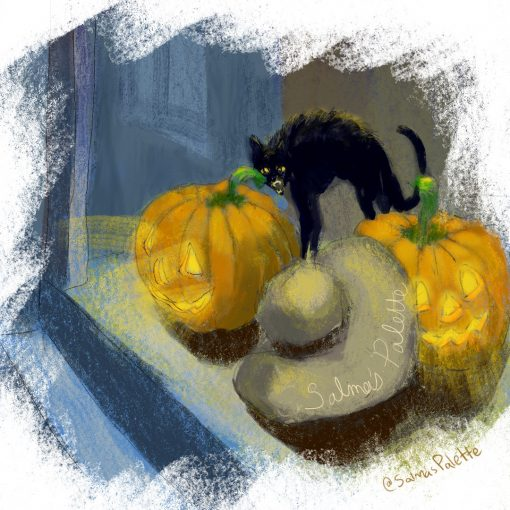Happy Halloween with 2 pumpkins and a black cat in front of the stairs of a house or apartment