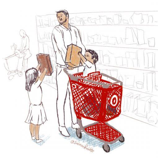 target shopping cart with kids thanksgiving shopping