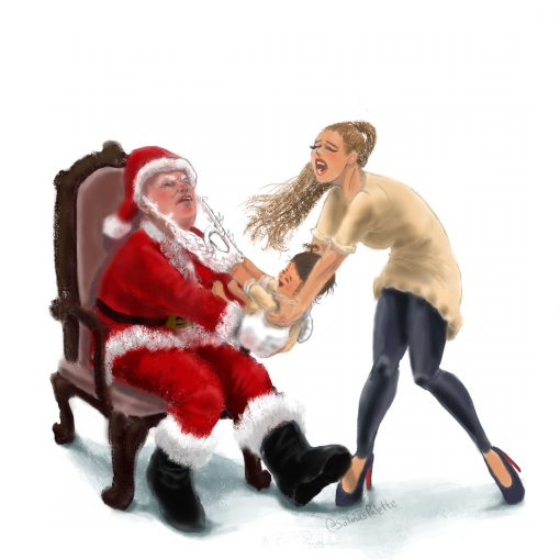 Santas lap baby pulling santas beard salmas palette
